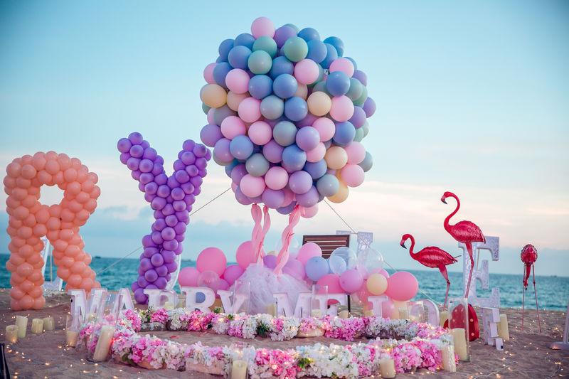 三亞唯美彩色氣球表白——思念,染色了煙花