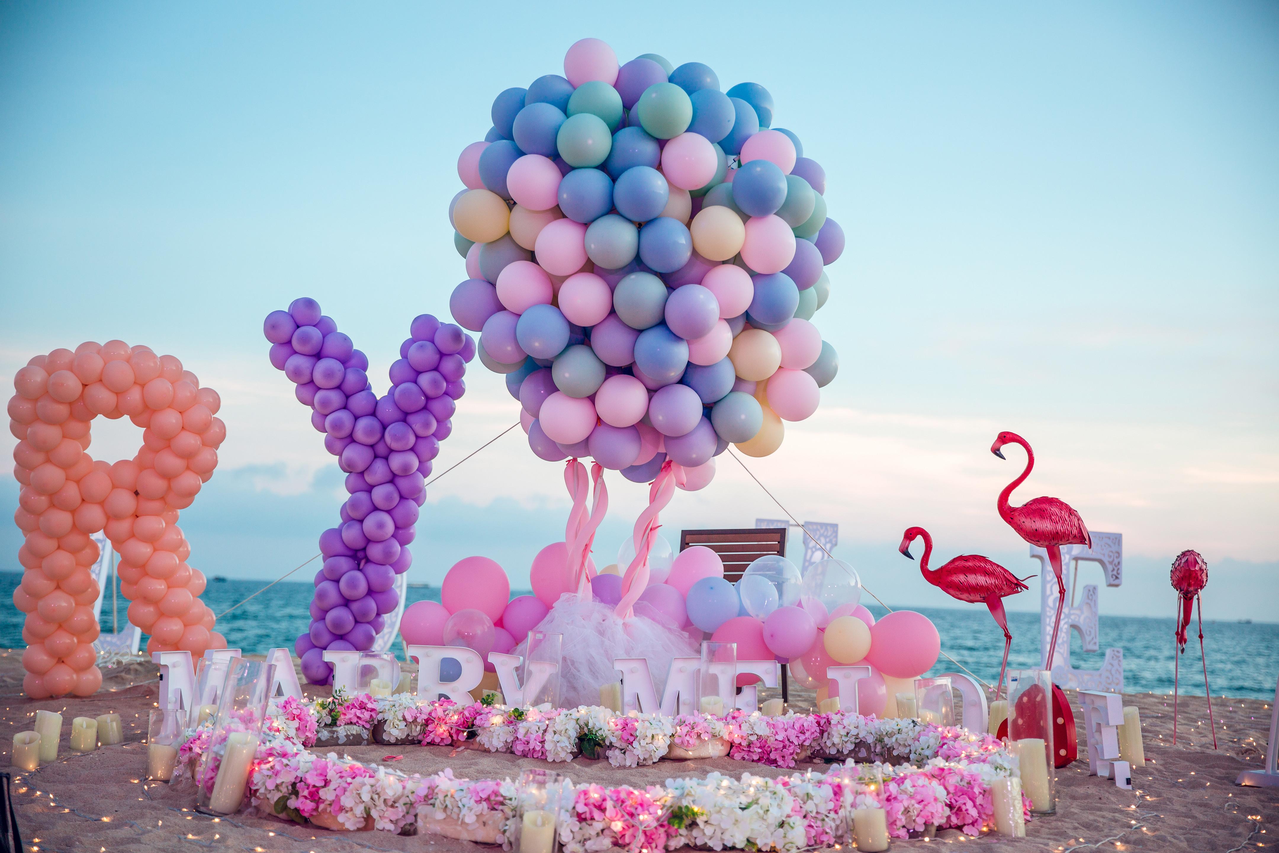三亞唯美彩色气球表白——思念,染色了烟花